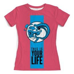"""Футболка с полной запечаткой (женская) """"This is your life"""" - skull, череп, life, жизнь, арт дизайн"""