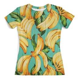 """Футболка с полной запечаткой (женская) """"Банан."""" - банан, бананы, тропики, bananas"""