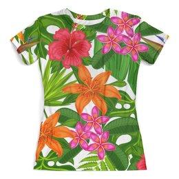 """Футболка с полной запечаткой (женская) """"Тропики"""" - лето, цветы, summer, природа, тропики"""