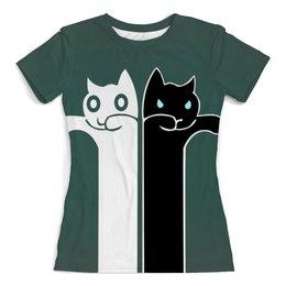 """Футболка с полной запечаткой (женская) """"Белый кот , чёрная кошка """" - кошечки"""