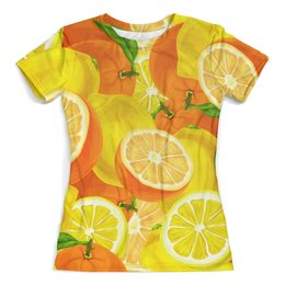 """Футболка с полной запечаткой (женская) """"Цитрусовая"""" - фрукты, апельсины, лимоны, цитрусы, летний"""