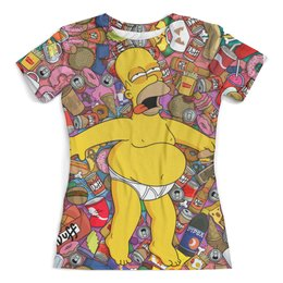 "Футболка с полной запечаткой (женская) ""American beauty by Homer Simpson"" - симпсоны, homer simpson, гомер симпсон, the simpsons"