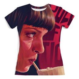 """Футболка с полной запечаткой (женская) """"Pulp Fiction"""" - ума турман, тарантино, криминальное чтиво, pulp fiction"""