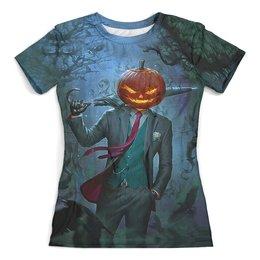 """Футболка с полной запечаткой (женская) """"HALLOWEEN Pumpkin"""" - череп, голова, хэллоуин, ужастик, тыква"""