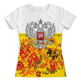 """Футболка с полной запечаткой (женская) """"Хохлома"""" - цветы, россия, герб, орел, хохлома"""