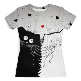 """Футболка с полной запечаткой (женская) """"Кот и Кошка"""" - юмор, рисунок, кот и кошка"""