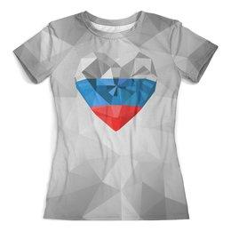 """Футболка с полной запечаткой (женская) """"Символ России"""" - сердце, россия, кристалл"""