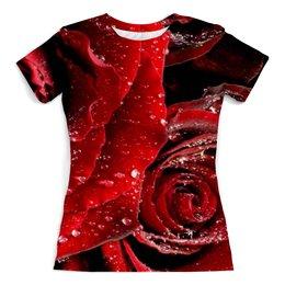 """Футболка с полной запечаткой (женская) """"Розы (Лепестки)"""" - цветы, rose, роза, 3d, розы"""