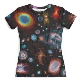 """Футболка с полной запечаткой (женская) """"Галактический мир"""" - звезды, космос, вселенная, одежда космос"""