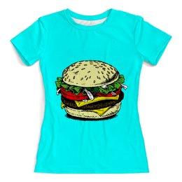"""Футболка с полной запечаткой (женская) """"Большой гамбургер """" - еда, гамбургер, бургер, макдоналдс, крабсбургер"""