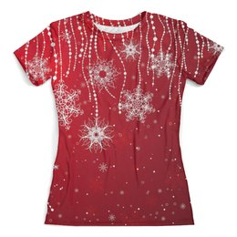 """Футболка с полной запечаткой (женская) """"Merry Christmas"""" - праздник, новый год, рождество, снежинки"""