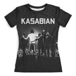 """Футболка с полной запечаткой (женская) """"Kasabian"""" - kasabian, касабиан, музыка, рок группы, касейбиан"""
