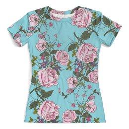 """Футболка с полной запечаткой (женская) """"Розы в цвету"""" - цветы, розы, природа, весна, сад"""