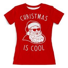 """Футболка с полной запечаткой (женская) """"Крутой Дед Мороз"""" - новый год, рождество, дед мороз, санта клаус, новогодняя"""