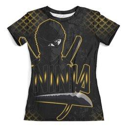 """Футболка с полной запечаткой (женская) """"NINJA"""" - ниндзя, warrior, меч, ninja, тренинг"""