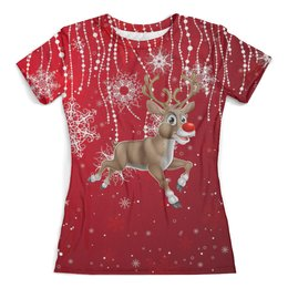 """Футболка с полной запечаткой (женская) """"Рождественский олень"""" - праздник, новый год, зима, рождество, снежинки"""