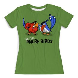 """Футболка с полной запечаткой (женская) """"The real Angry Birds"""" - юмор, пародия, попугаи, птички"""