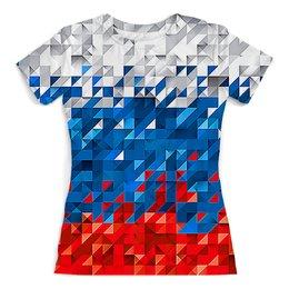 """Футболка с полной запечаткой (женская) """"Flag RF PIXEL"""" - жене, символ, пиксели, патриоту, флаг россии"""