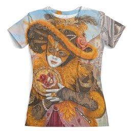 """Футболка с полной запечаткой (женская) """"Венеция"""" - карнавал, маска, девушка, незнакомка"""