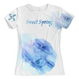"""Футболка с полной запечаткой (женская) """"Sweet Spring (aquarelle)"""" - арт, нежность, aqua, sweetspring"""