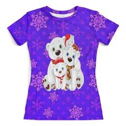 """Футболка с полной запечаткой (женская) """"Белые медведи"""" - животные, медведь, снежинки, белый медведь, полярные медведи"""
