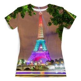 """Футболка с полной запечаткой (женская) """"Эйфелева башня"""" - узор, город, франция, париж, башня"""