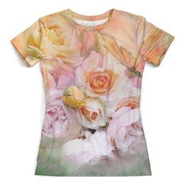 """Футболка с полной запечаткой (женская) """"Пионы"""" - бабочки, цветы, пионы, розы, букет"""