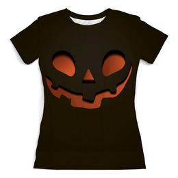 """Футболка с полной запечаткой (Женская) """"Тыква (Happy Halloween)"""" - тыква, happy halloween, привидение"""