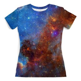 """Футболка с полной запечаткой (женская) """"Universe"""" - космос, наука, футболка космос, одежда космос, майка космос"""