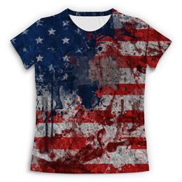 """Футболка с полной запечаткой (Женская) """"USA флаг"""" - звезды, америка, usa, флаги, сша"""