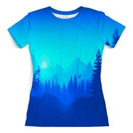 """Футболка с полной запечаткой (женская) """"Природа леса"""" - лес, деревья, природа, горы, пейзаж"""