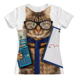 """Футболка с полной запечаткой (женская) """"Умный кот"""" - кот, гений, кот в галстуке, животный, канкулятор и кот"""