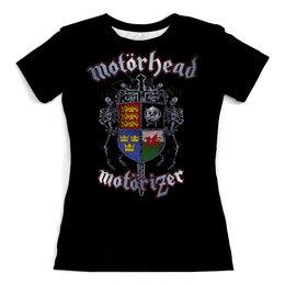 """Футболка с полной запечаткой (женская) """"МУЗЫКА. MOTORHEAD"""" - стиль, эмблема, рок-группа, скелеты, стиль надпись логотип яркость"""
