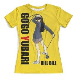 """Футболка с полной запечаткой (женская) """"Kill Bill Yubari"""" - мафия, ума турман, катана, с мечем, убить билла"""