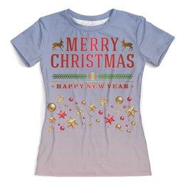 """Футболка с полной запечаткой (женская) """"Merry Christmas! (1)"""" - праздник, зима, рождество, олени"""