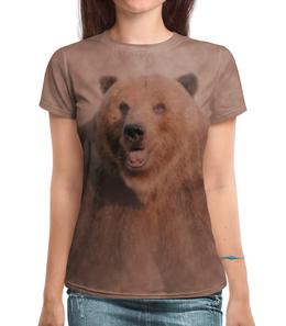 """Футболка с полной запечаткой """"Медведь"""" - медведь, животное, коричневый, бурый"""