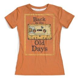 """Футболка с полной запечаткой (женская) """"Old School Art"""" - old school, кассета, аудио кассета, музыка, старая школа"""