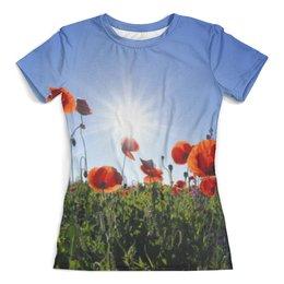 """Футболка с полной запечаткой (женская) """"Цветы маки"""" - цветы, лето, небо, мак, маки"""