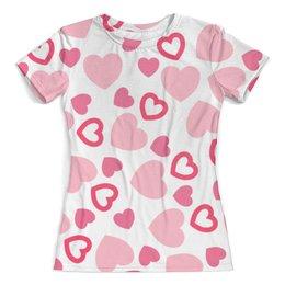 """Футболка с полной запечаткой (женская) """"Сердечная"""" - сердце, любовь, сердечки, день валентина, романтичный"""