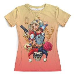 """Футболка с полной запечаткой (женская) """"Harley Quin Design"""" - харли квинн, harley quinn, суперзлодейка, отряд самоубийц, любителям комиксов"""