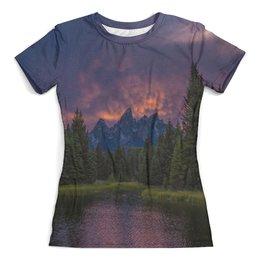 """Футболка с полной запечаткой (женская) """"Горы и лес"""" - пейзаж, природа, деревья, горы, елки"""