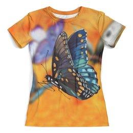 """Футболка с полной запечаткой (женская) """"Бабочка"""" - бабочка, животные, девушкам, природа, насекомые"""