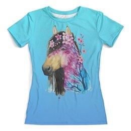 """Футболка с полной запечаткой (женская) """"Лошадь арт (1)"""" - стиль, дизайн, мода"""