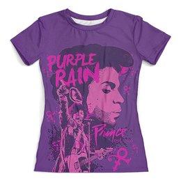 """Футболка с полной запечаткой (женская) """"Prince – Purple Rain"""" - принц"""