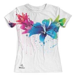 """Футболка с полной запечаткой (женская) """"Цветы"""" - цветы, print, футболкаспринтом, koleda17, рисунок"""