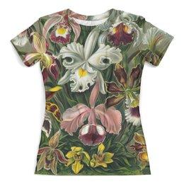 """Футболка с полной запечаткой (женская) """"Орхидеи для любимой"""" - орхидея, эрнст геккель, 14фев, 8мар, цветы"""