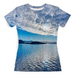 """Футболка с полной запечаткой (женская) """"Остров в море"""" - море, облака, природа, пейзаж, остров"""