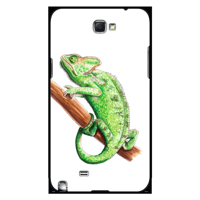 лучшая цена Чехол для Samsung Galaxy Note 2 Printio Зеленый хамелеон на ветке