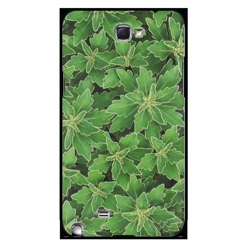 Чехол для Samsung Galaxy Note 2 Printio Зеленые листья цена и фото