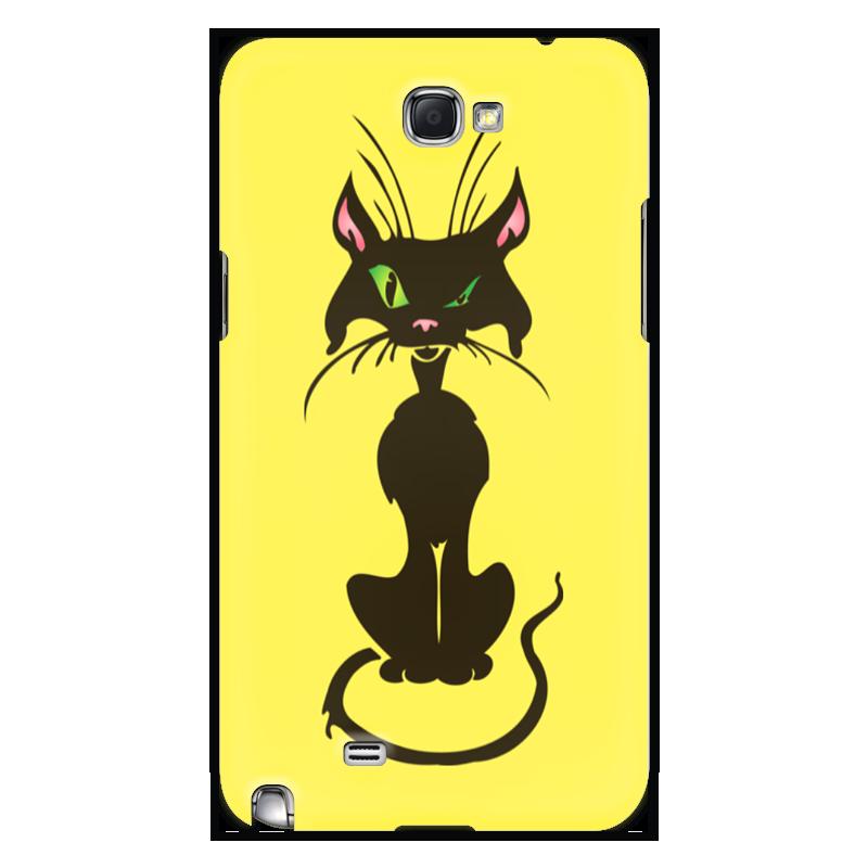Чехол для Samsung Galaxy Note 2 Printio Черный кот стоимость